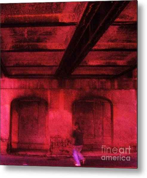 Tunnel City Urban Concrete Industrial Person Metal Print featuring the photograph Shelter In The Tunnel by Reb Frost