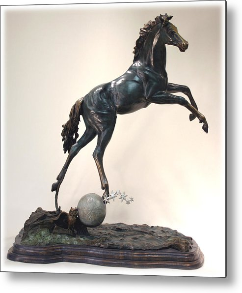 Bronze Metal Print featuring the sculpture The Moonhorse Bronze by Dawn Senior-Trask