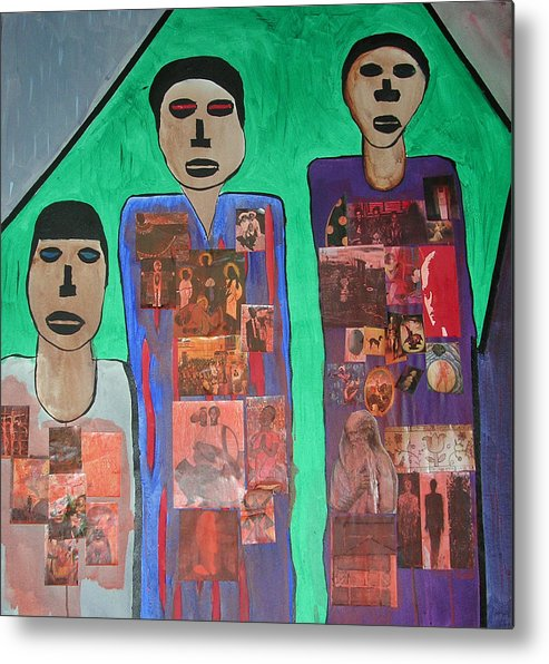 Figurative Collage Metal Print featuring the painting Three Brothers by Russell Simmons