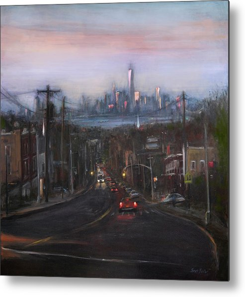 Manhattan Skyline Metal Print featuring the painting Victory Boulevard At Dusk by Sarah Yuster