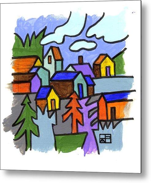 Landscape Design Metal Print featuring the painting Village Scene by Helen Pisarek