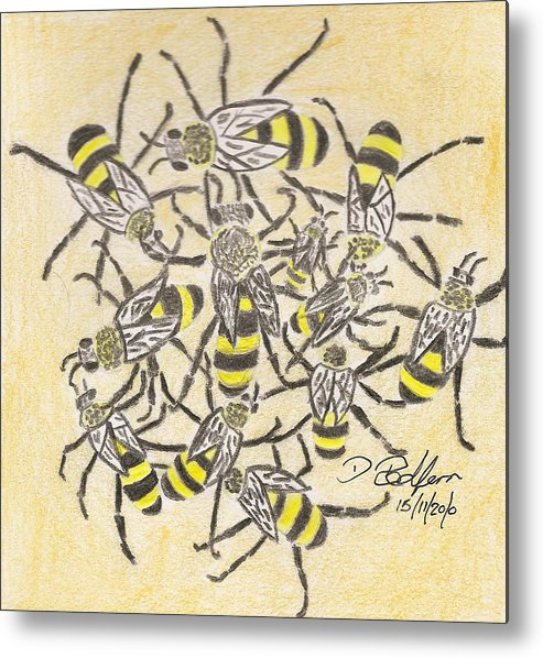 Bee Metal Print featuring the drawing Wasps by Darryl Redfern