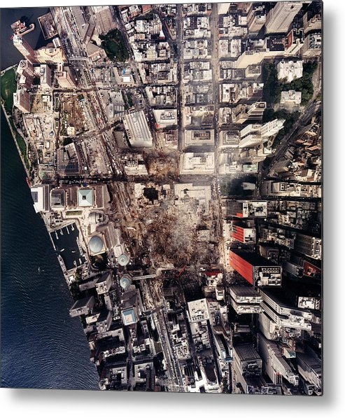 2000s Metal Print featuring the photograph World Trade Center, Aerial Photograph by Everett