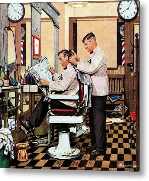 Barbers Metal Print featuring the drawing Barber Getting Haircut by Stevan Dohanos