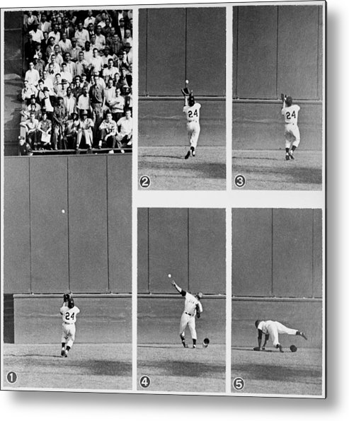 1950-1959 Metal Print featuring the photograph Photo Sequence Willie Mays Makes His by New York Daily News Archive