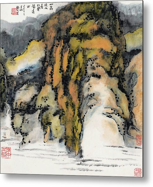 Lai Shaoji Metal Print featuring the painting High Mountains And Flowing Water In    by Lai Shaoji