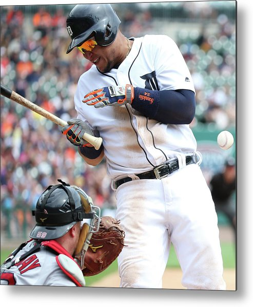 American League Baseball Metal Print featuring the photograph Miguel Cabrera And Clay Buchholz by Leon Halip