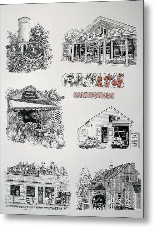 Connecticut Chechire Ct Architecture Buildings New England Metal Print featuring the painting Cheshire Landmarks by Tony Ruggiero