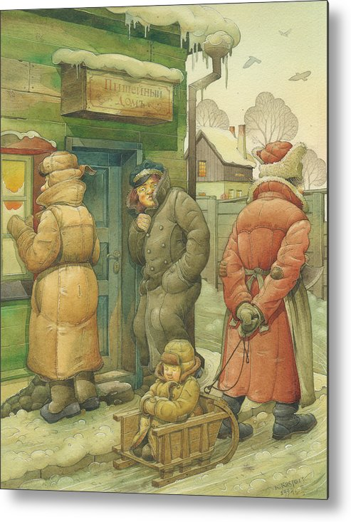 Russian Winter Metal Print featuring the painting Russian Scene 07 by Kestutis Kasparavicius