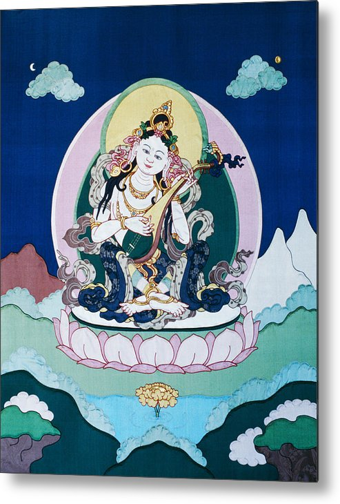 Saraswati Metal Print featuring the tapestry - textile Saraswati by Leslie Rinchen-Wongmo