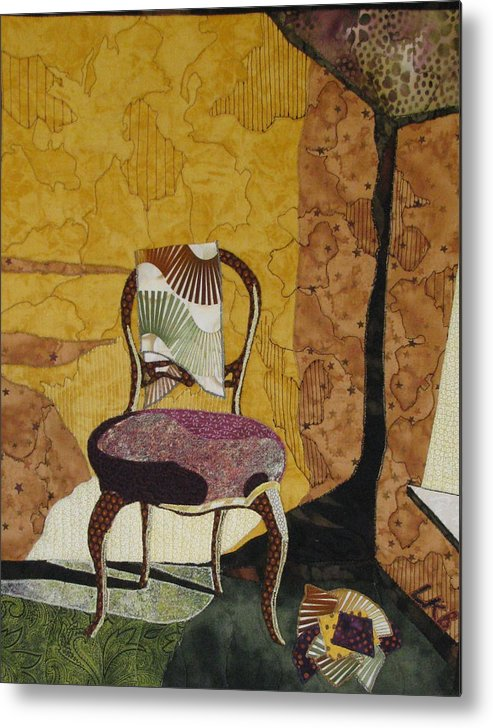 Art Quilts Tapestries Textiles Metal Print featuring the tapestry - textile The Old Chair by Lynda K Boardman