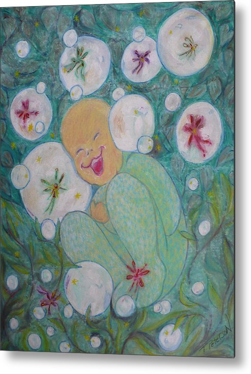Painting Metal Print featuring the painting A Childs First Laugh by Todd Peterson
