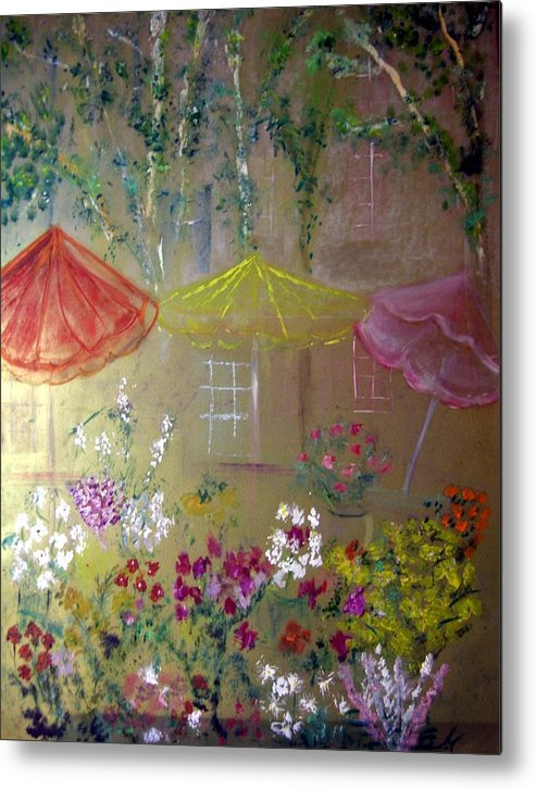 Flowers Metal Print featuring the painting Antoinette's Flowers by Michela Akers