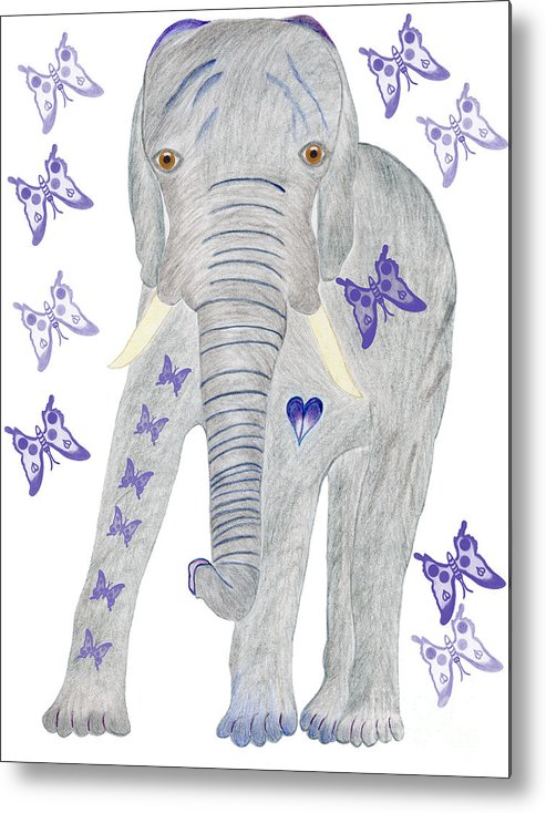 Elephant Metal Print featuring the painting Brandy And The Butterflies by Tess M J Iroldi
