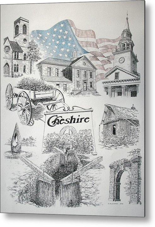 Connecticut Cheshire Ct Historical Poster Architecture Buildings New England Metal Print featuring the drawing Cheshire Historical by Tony Ruggiero