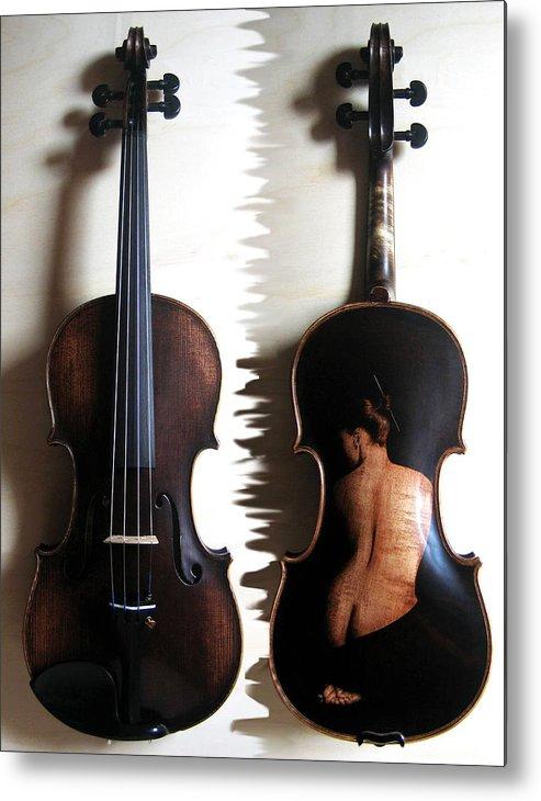 Dino Muradian Metal Print featuring the pyrography Custom Gliga Violin 2 by Dino Muradian