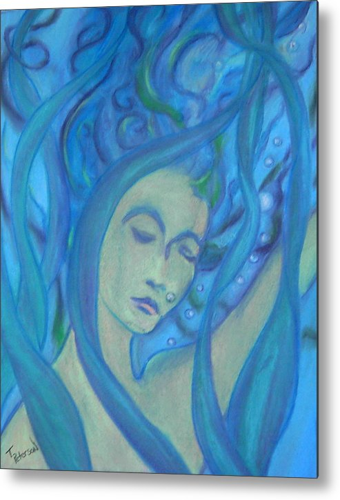 Crayon Metal Print featuring the painting Even Mermaids Get The Blues by Todd Peterson