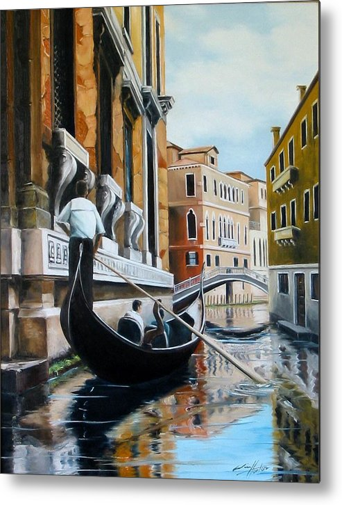 Venice Metal Print featuring the painting Gondola Ride On Venice Italy Canal by Jim Horton