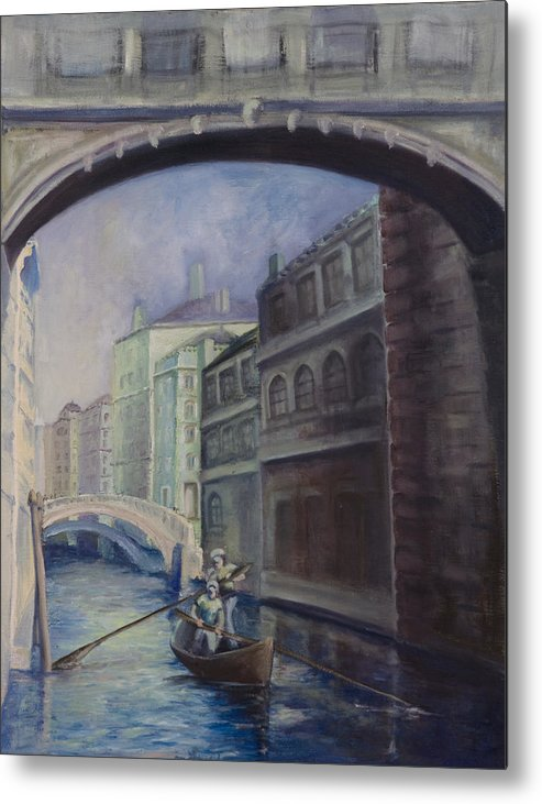 Venice Metal Print featuring the painting Gondoliers by Victoria Shea