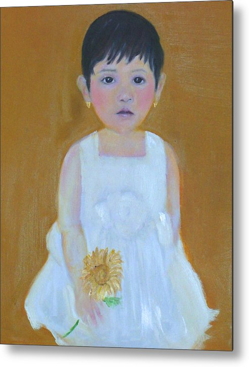Child Metal Print featuring the painting La Senorita And The Sunflower by Michela Akers