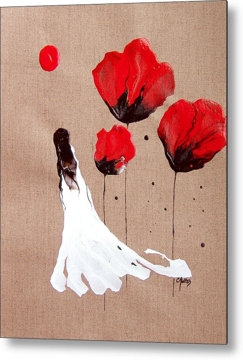 Linen Metal Print featuring the painting Lady Of The Poppies -contemporary Abstract Woman Red Flowers Fantasy by Catherine Jeltes