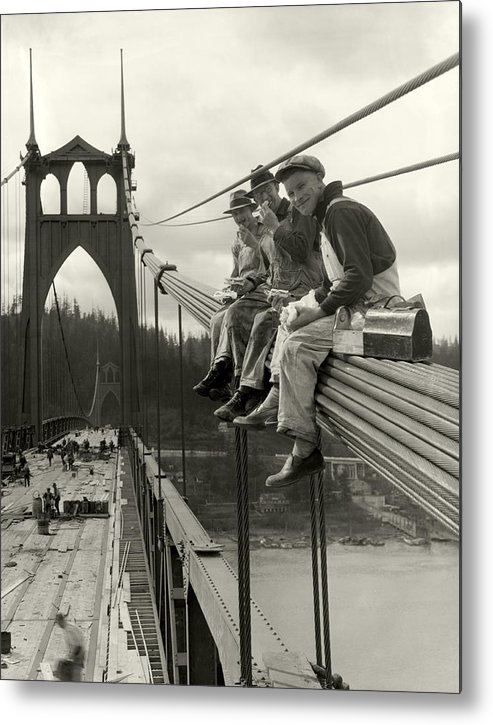 St. John's Bridge Metal Print featuring the photograph Men On Bridge by Ray Atkeson