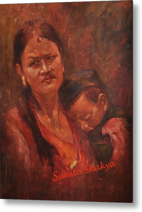 Portrait Of Mother And Child Metal Print featuring the painting Mother by Sunita Shakya