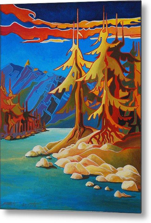 Surrealism Landscape Metal Print featuring the painting Mountain Stream by Santo De Vita