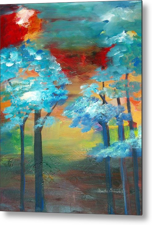 Landscape Metal Print featuring the painting Oriental Forest by Maritza Bermudez
