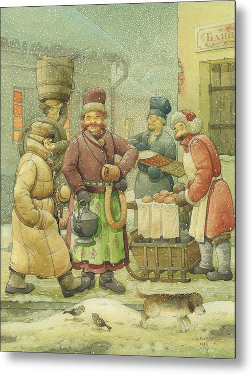 Russian Winter Metal Print featuring the painting Russian Scene 04 by Kestutis Kasparavicius