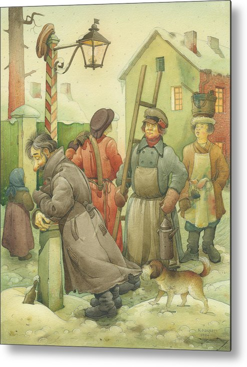 Russian Winter Metal Print featuring the painting Russian Scene 06 by Kestutis Kasparavicius