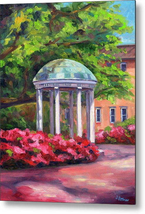 University Of North Carolina At Chapel Hill Metal Print featuring the painting The Old Well Unc by Jeff Pittman