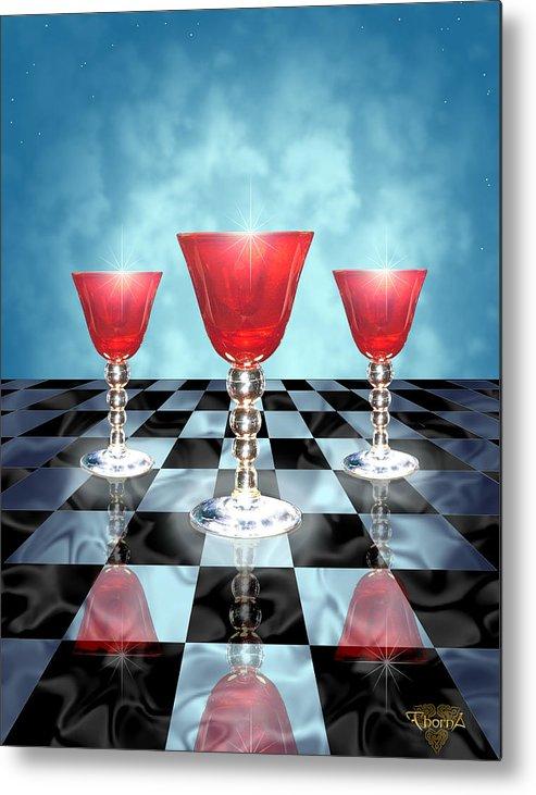 Digital Art Metal Print featuring the digital art Three Of Cups by Greg Piszko