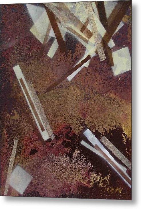 Abstract Metal Print featuring the painting Too Dark by Evguenia Men