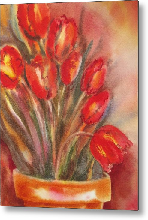 Tulips Metal Print featuring the painting Tulips For David by Tara Moorman