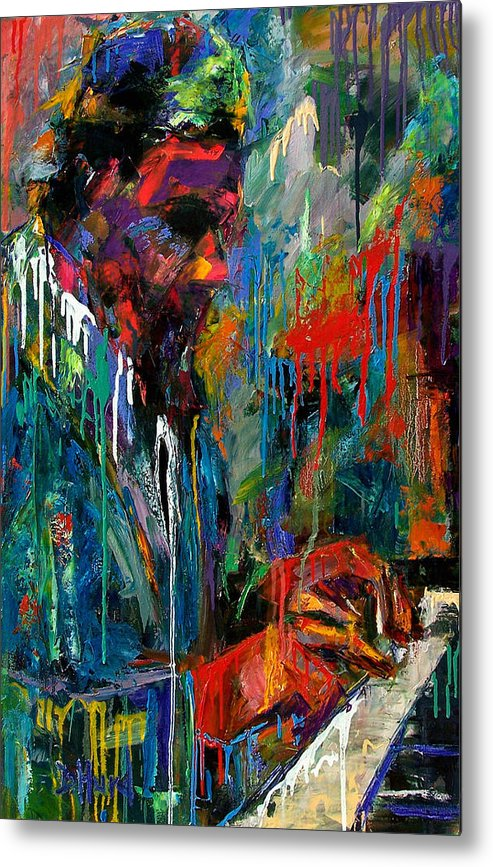 Painting Metal Print featuring the painting Round Midnight by Debra Hurd