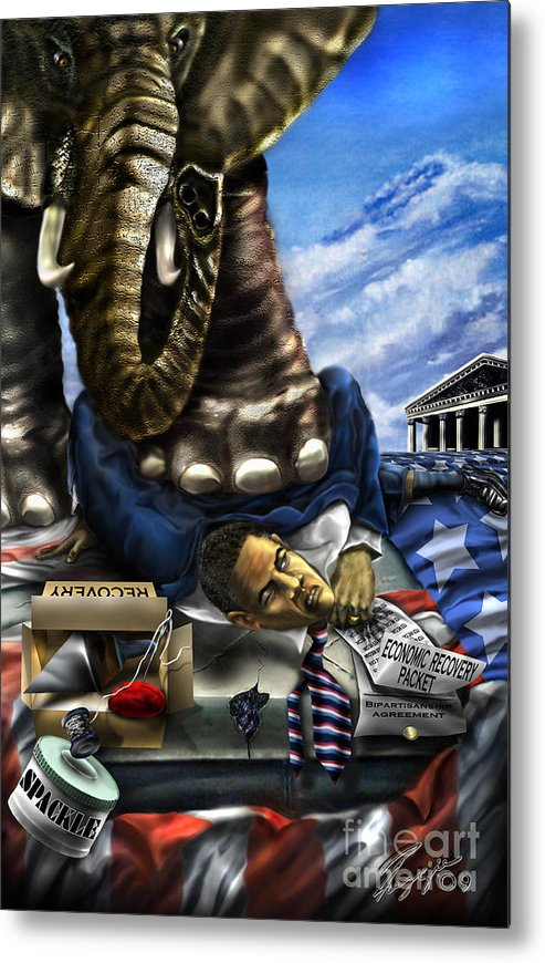 Political Satire Painting Metal Print featuring the painting Obama by Reggie Duffie