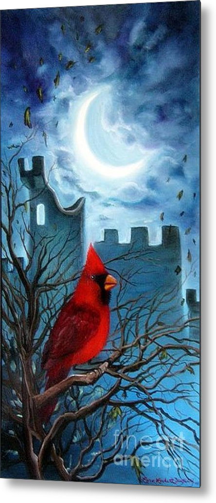 Cardinal Metal Print featuring the painting The Cardinal by Lora Duguay