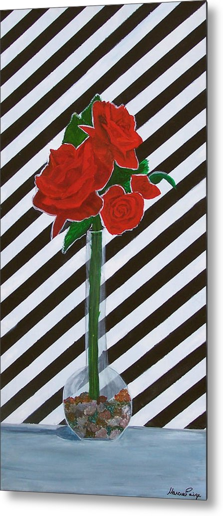 Flowers Metal Print featuring the painting Four Roses by Marcia Paige