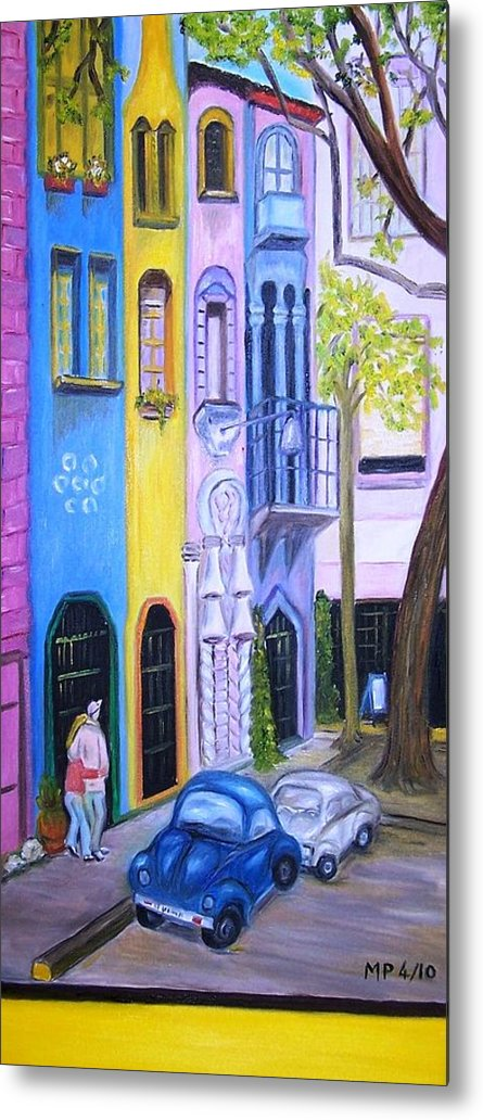 Cityscape-buildings-cars Metal Print featuring the painting Mexican Artists by Madeleine Prochazka