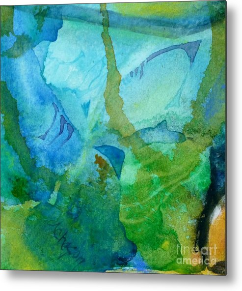 Watercolour Metal Print featuring the painting Abstract 1 by Donna Acheson-Juillet
