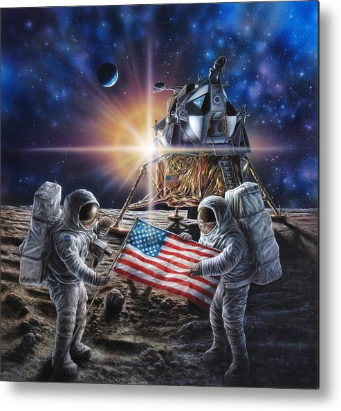 Space Metal Print featuring the painting Apollo 11 by Don Dixon