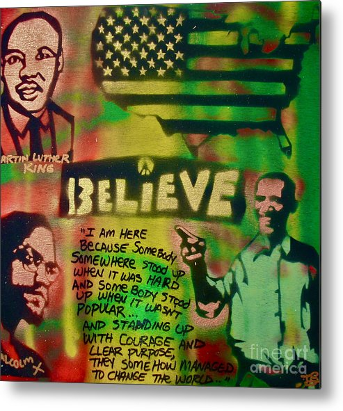 Barack Obama Metal Print featuring the painting Barack And Martin And Malcolm by Tony B Conscious