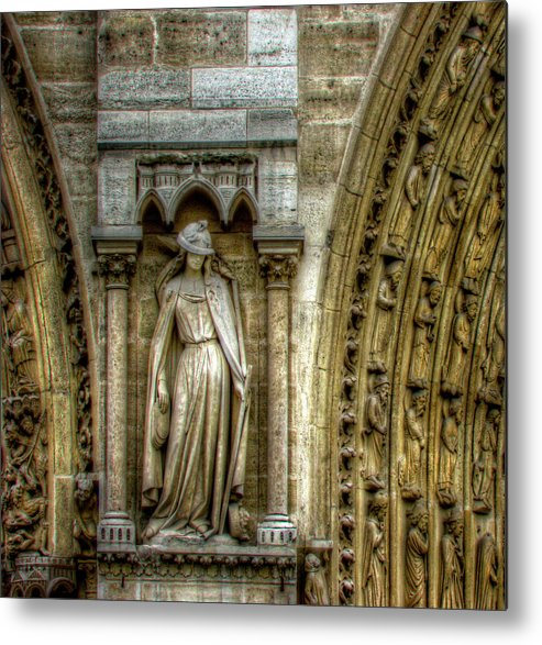 Statue Metal Print featuring the photograph Between The Doors by Douglas J Fisher