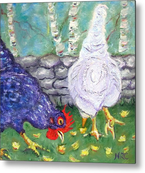Chicken Metal Print featuring the photograph Chicken Neighbors by Natalie Rotman Cote