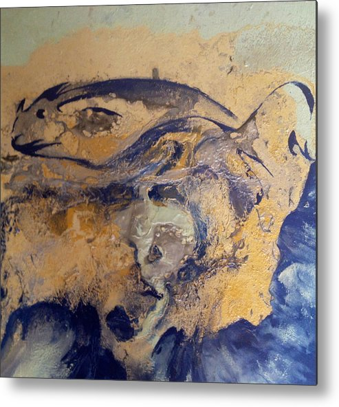 Ocean Metal Print featuring the painting Fossil Fish by Stephanie Frances Meyer