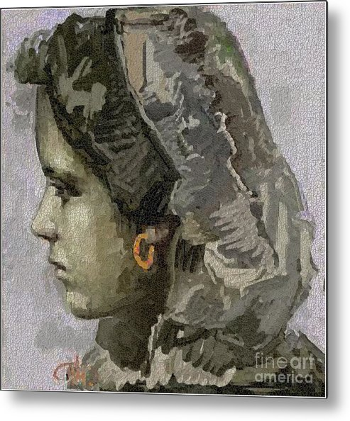 People Metal Print featuring the painting Girl With Yellow Earring Gwye1 by Pemaro