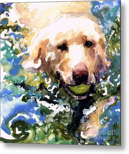 Water Retrieve Metal Print featuring the painting Head Above Water by Molly Poole