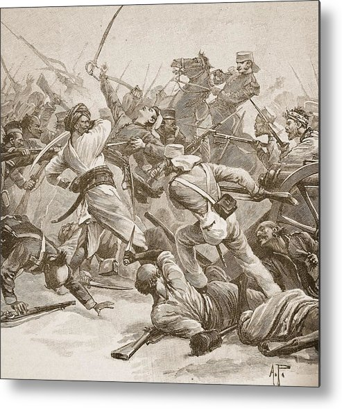 Siege Of Delhi Metal Print featuring the drawing It Was Bayonet To Bayonet, Illustration by Alfred Pearse