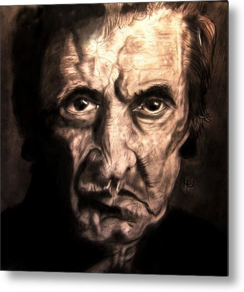 Johnny Cash Metal Print featuring the drawing Johnny by Herbert Renard